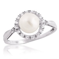 Ladies Freshwater Pearl and Created White Sapphire Ring in Sterling Silver