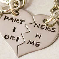Partners in Crime Keychain - BFF Gift,  Best Bitches Split Heart Key Chain - Hand Stamped Best Friend Keychains -  Stainless Steel