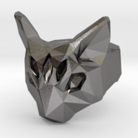 Polygonal cat ring (various sizes) by SurfaceDefect on Shapeways