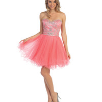 Coral Strapless Beaded Corset Short Dress 2015 Homecoming Dresses