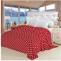 """Soft Touch King Size (102"""" x 86"""") Polka Dot Micro-Fleece Blanket - Red"""