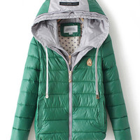 Candy Color Hooded Zip Up Striped Padded Jacket