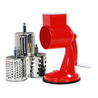 Red Three-Barrel Suction Base Grater