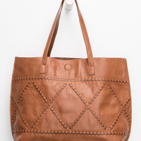 Whipstitch Reversible Faux Leather Tote   Tote Bags