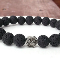 Men's Lava Rock, Men's Yin and Yang Bracelet, Mens Balance Bracelet, Men's Bracelet, Men's Black Bracelet, Men's Jewelry, Gift for Him