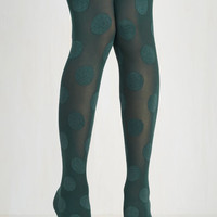Rockabilly Dressed to Dance Tights in Teal Size OS by ModCloth
