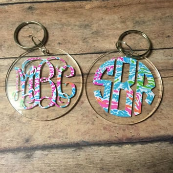 Lilly P Inspired monogram keychain
