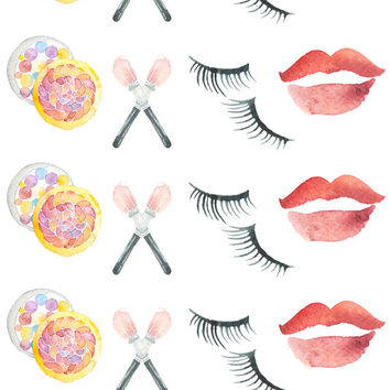 Makeup Planner Stickers, Beauty planner stickers, Day off planner stickers, Watercolor stickers, cute stickers, Makeup brushes stickers