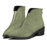 Light Green Suedette Zip Back Chunky Pointed Ankle Boots