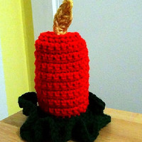 Holiday Crochet - Flameless Candle - Red Christmas Decor