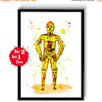 ON SALE 20% OFF Star Wars C-3Po Watercolor Art Print  Movie Poster, Star Wars 7 Art Print, Watercolor Star Wars, Watercolor Painting - Home