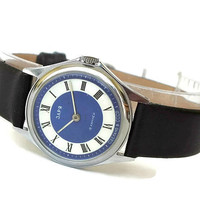 Vintage Watch Zaria Dawn. Womens Watches. Blue Dial Womens Watch. Retro Style Watch for Women. Classic Ladies Watch Leather Strap. Gift Her.