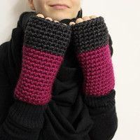 Charcoal Pink Mitts, Two Tone Open Gloves, Chunky Hand Warmers, Wool Texting Mittens, Color Block Gloves, Fingerless Mittens,Typing Gloves
