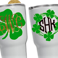 Shamrock monogram cup decal, St. Patrick's Day party