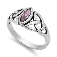925 Sterling Silver CZ Wicca Triquetra Pink Ring 7MM