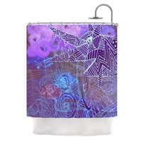 """Marianna Tankelevich """"Abstract With Wolf"""" Purple Illustration Shower Curtain"""