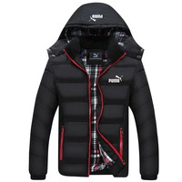 ADIDAS winter new plus velvet men's hooded jacket down jacket Black