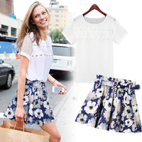 White Net Sleeve T-Shirt and Blue Floral Print Pleated Skirt
