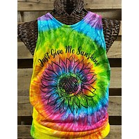 Southern Chics Just Give Me Sunshine Sunflower Tie Dye Girlie Bright T Shirt Tank Top