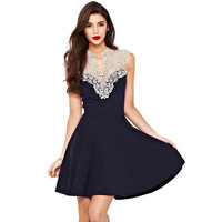 Lace Female Backless Summer Sexy Star One Piece Dress = 5826379329