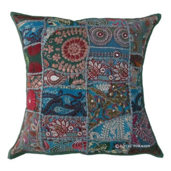 Green Vintage Patchwork Indian Decorative Throw Pillow
