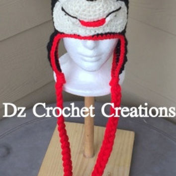 Crochet Mickey Mouse Inspired Earflap Beanie - Photo Prop - Made to Order - Minnie Mouse - Crochet Character - Crochet Animal - Crochet
