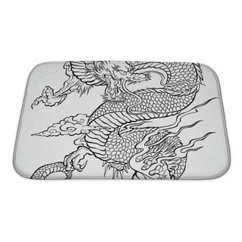 Bath Mat, Dragon Tattoo Illustration