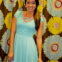 Catch My Breath Dress: Turquoise | Hope's