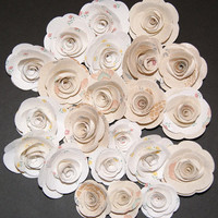 22 Wall Paper Flowers Roses Appliques by scrapitsideways on Etsy