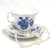 Royal Albert Blue Flowers Tea Cup and Saucer, Gainsborough Footed Cup, Blue White Cup, Roses Mums, English Bone China, 1970s, Vintage