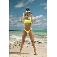 Neon Green Bikini w/Adjustable Square Neckline Straps and Matching Bottom (Neon Pink also available)