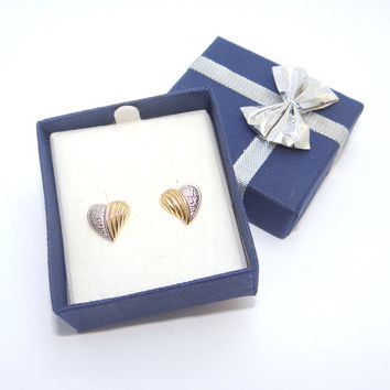 14k Gold Heart Earrings Vintage Yellow and White Gold Pierced Post Stud Two Tone Earrings Valentine