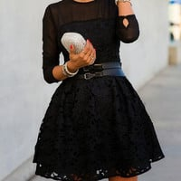 Black Semi Sheer Lace Crochet Belted Skater Dress