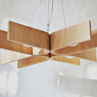 Hanging lamp with natural wood texture (28x28 inches)