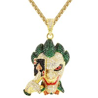 Men's Iced Out Joker Face Ace Playing Cards Gold Tone Pendant
