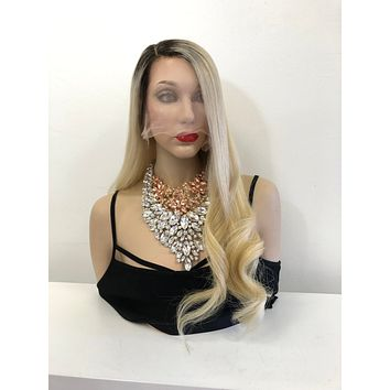 CUSTOM Blond Brown Ombre Root Full Lace Wig 22 inches ZOEY