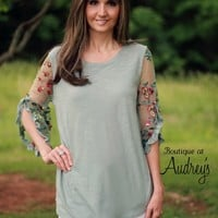 Umgee Sage Top with Embroidered Sleeves - Boutique At Audrey's