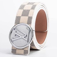 LV Louis Vuitton Fashion New Tartan Leather Women Men Leisure Belt
