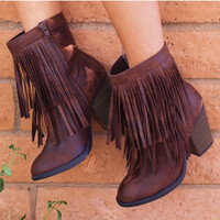 Mountain Babe Fringe Boots - Chocolate