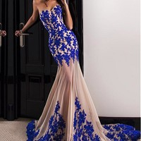 [138.99] Marvelous Tulle Sweetheart Neckline Mermaid Evening Dresses With Lace Appliques - dressilyme.com