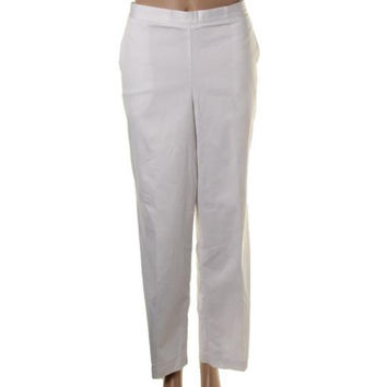 Alfred Dunner Womens Elastic Waistband Solid Casual Pants