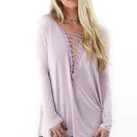Wake Me Up Lavender Long Sleeve Top