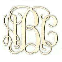 Three Letter Monogram - Laser Cut Wood Shape MONO38
