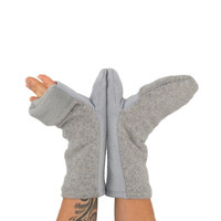 Convertible Mittens in Cloud Grey - Recycled Wool - Fleece Lined