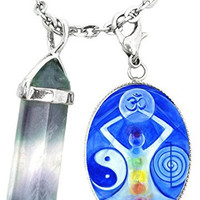 Universal Healing Manifestation Power Charm & Fluorite Stone Point Necklace