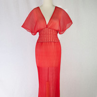 Sultry Vintage 1970's Sheer Red Night Gown Accordion Pleated Beauty Full Length
