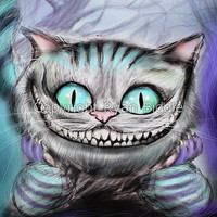 Cheshire Cat from Alice in Wonderland Digital Hand Drawn 8x10 Inch Print FREE SHIPPING