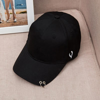 Mens Snapback Hats Solid Color Iron Ring Decor Cotton Hats Women Kpop Simple Baseball Caps 2016 New Fashion Unisex Accessories