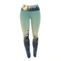 "Robin Dickinson ""Shine Bright"" Snowy Trees Yoga Leggings"
