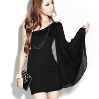 LOCOMO One Shoulder Long Mesh Angel Sleeve Mini Dress FFD016 S-M Black